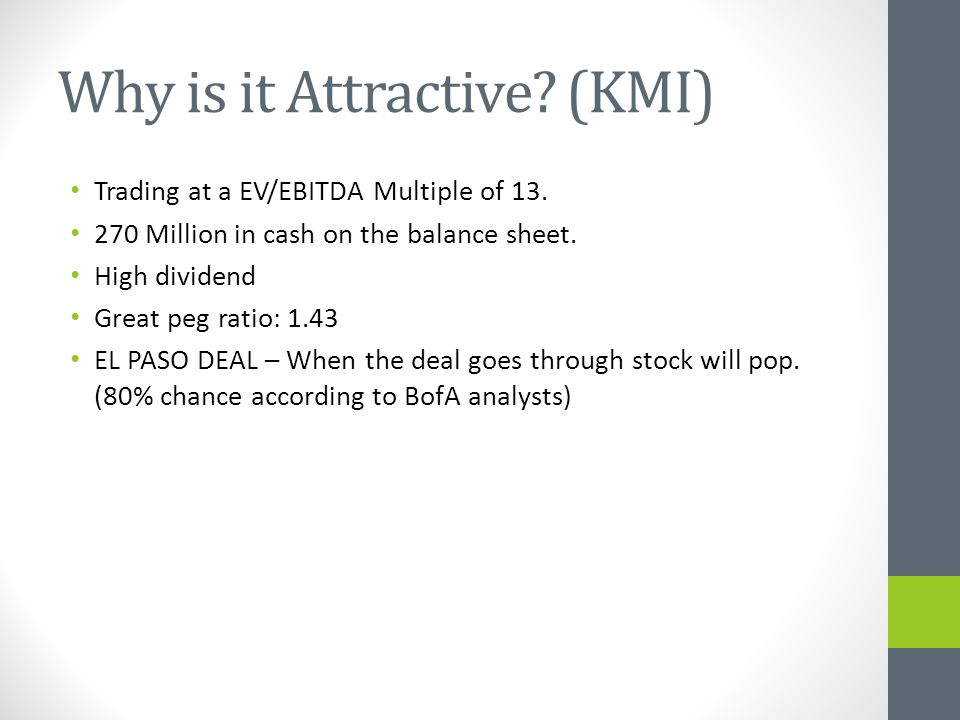 Why is it Attractive. (KMI) Trading at a EV/EBITDA Multiple of 13.