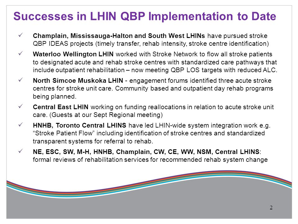 Champlain, Mississauga-Halton and South West LHINs have pursued stroke QBP IDEAS projects (timely transfer, rehab intensity, stroke centre identificat