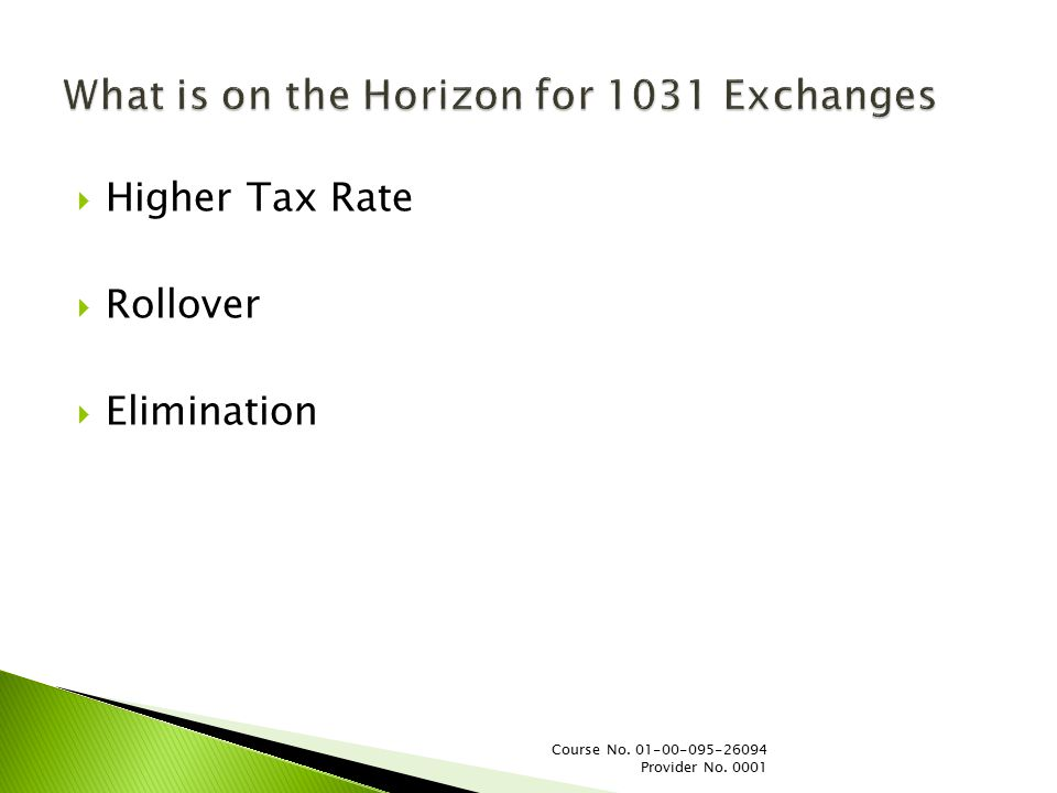  Higher Tax Rate  Rollover  Elimination Course No. 01-00-095-26094 Provider No. 0001