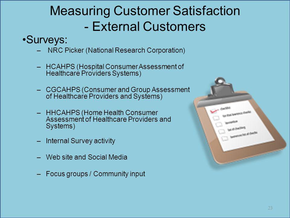 Measuring Customer Satisfaction - External Customers Surveys: – NRC Picker (National Research Corporation) –HCAHPS (Hospital Consumer Assessment of He