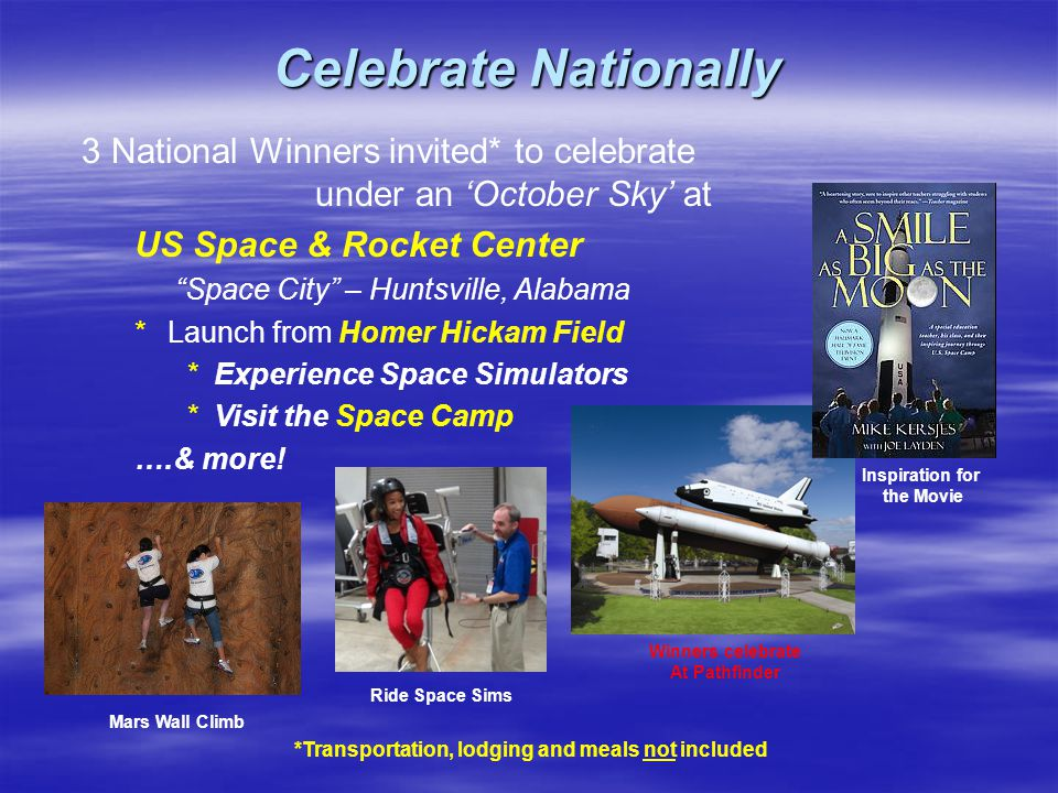 Compete Locally All Contestants *Build *Build and launch launch their own solid-fuel powered model rocket *Receive *Receive Certificates of Achievement *Featuring *Featuring the artwork of Astronaut & Moonwalker, Alan Bean *Bearing *Bearing an inspirational quote from Christa McAuliffe *Suitable *Suitable for framing Local winner *Receives *Receives Winner's Certificate *Results *Results are entered into the National Competition