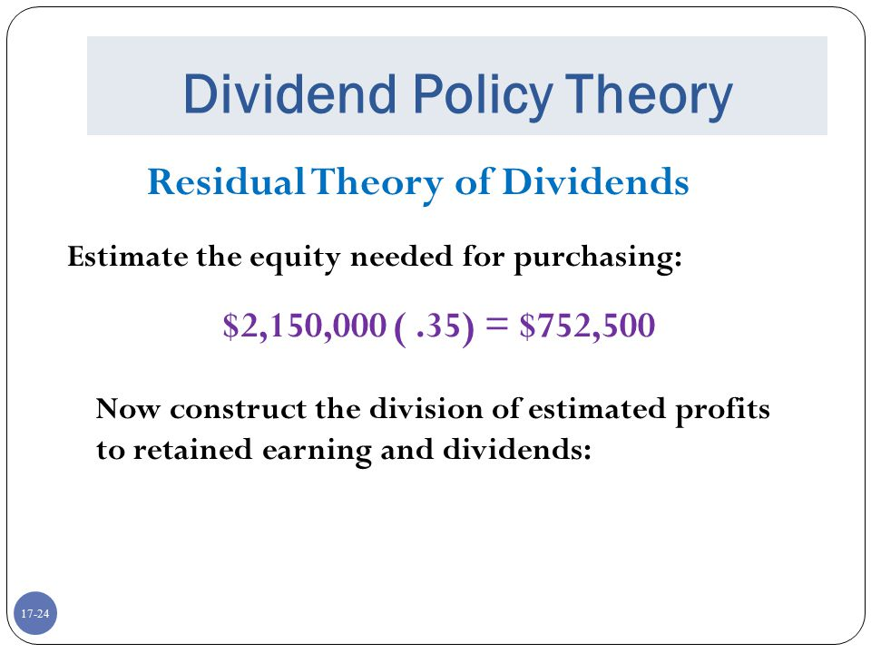 17-24 Dividend Policy Theory Residual Theory of Dividends Estimate the equity needed for purchasing: $2,150,000 (.35) = $752,500 Now construct the div