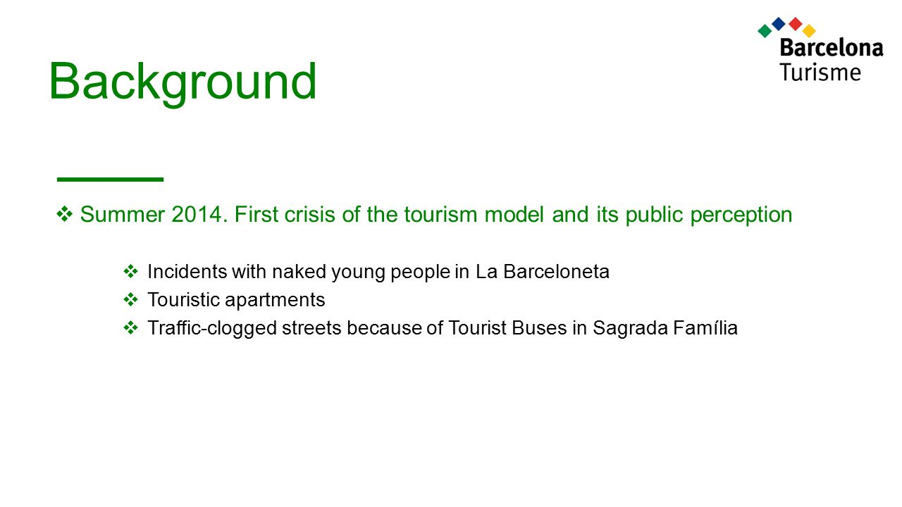 Background  Summer 2014. First crisis of the tourism model and its public perception  Incidents with naked young people in La Barceloneta  Touristi