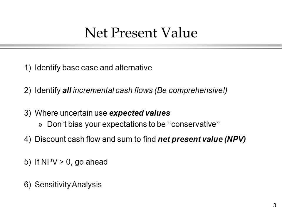 4 NPV - The Two-Period Case l Suppose you have a project which has: »An investment outlay of $100 in 1997 (period 0) »A safe return of $110 in 1998 (period 1) »Should you take it.
