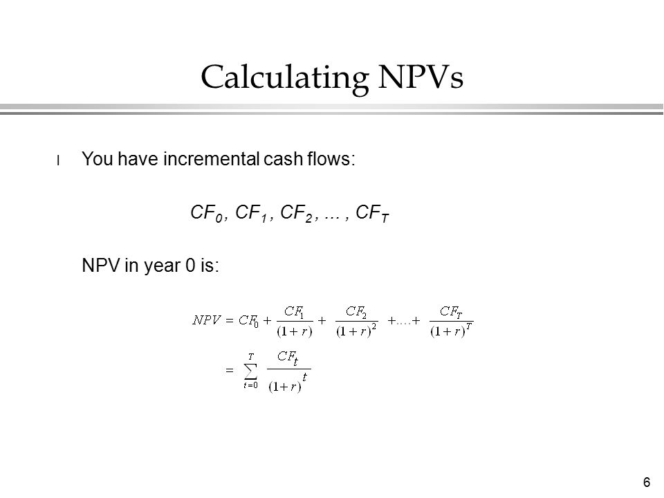 7 Computing NPVs Example Step 1: Year1997199819992000 CF-100 -50 30 200 Step 2: Determine the PVs of cash flows: DF1.0000.9090.8260.751Total DCF-100.0-45.5 24.8150.3 = 29.6 Step 3: Sum.