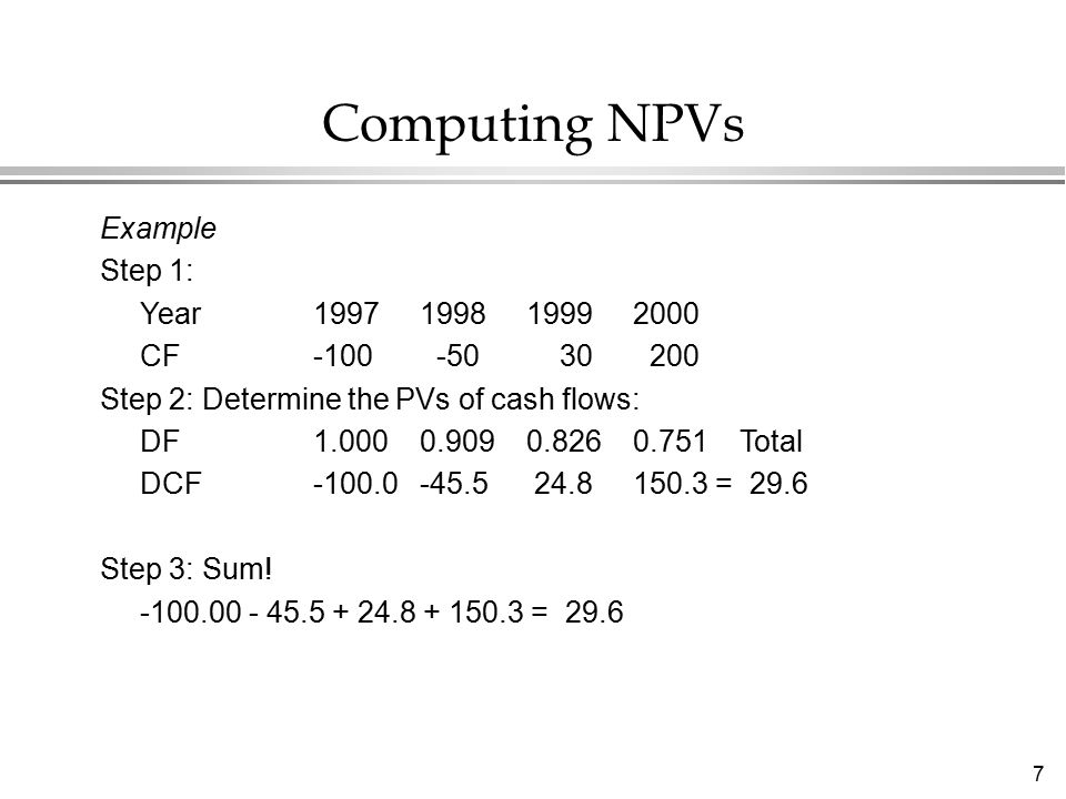 8 l We showed that a project with a cash flow: -100-5030200 had an NPV of 29.6 @ 10%.