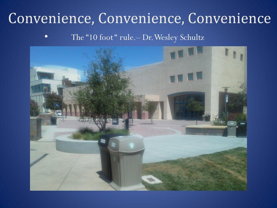 Convenience, Convenience, Convenience The 10 foot rule.– Dr. Wesley Schultz