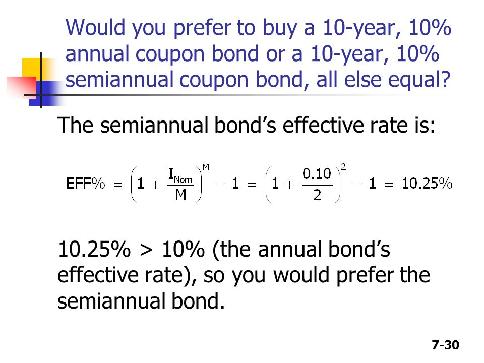 7-30 Would you prefer to buy a 10-year, 10% annual coupon bond or a 10-year, 10% semiannual coupon bond, all else equal.