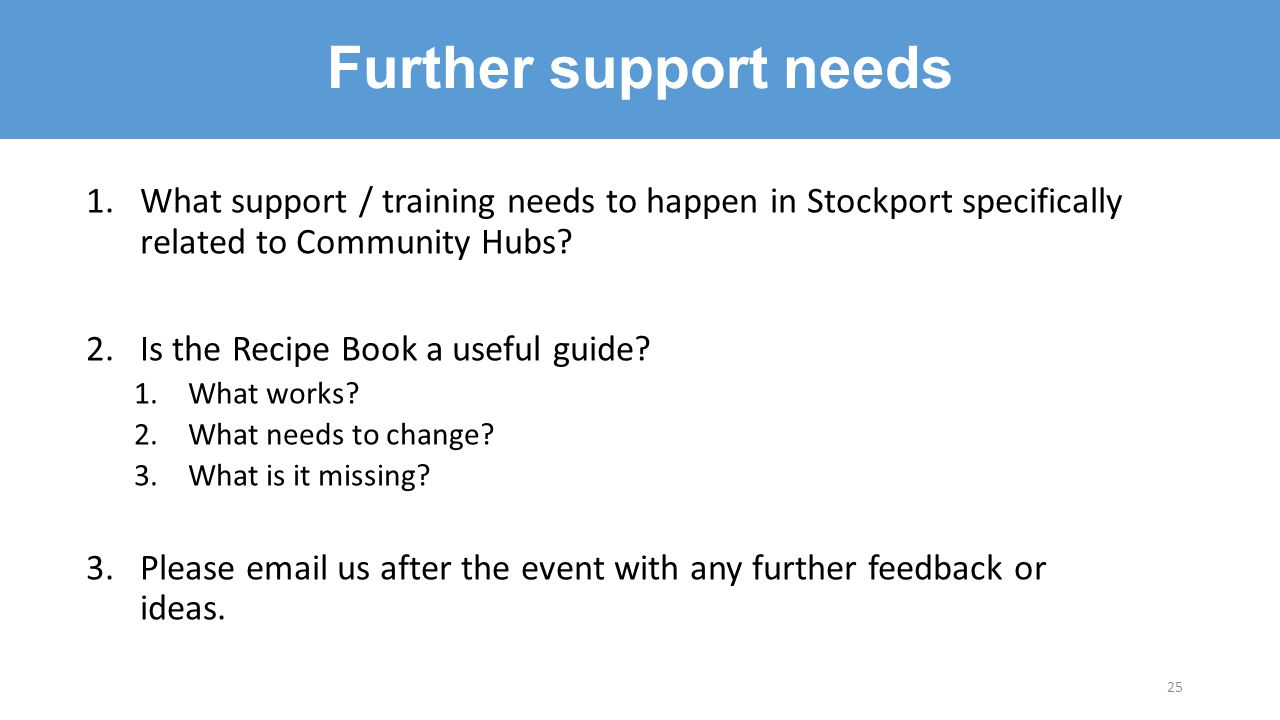 1.What support / training needs to happen in Stockport specifically related to Community Hubs? 2.Is the Recipe Book a useful guide? 1.What works? 2.Wh