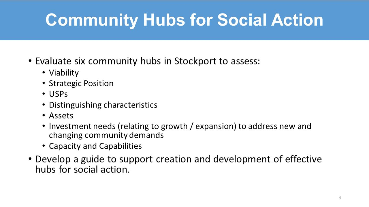 Evaluate six community hubs in Stockport to assess: Viability Strategic Position USPs Distinguishing characteristics Assets Investment needs (relating