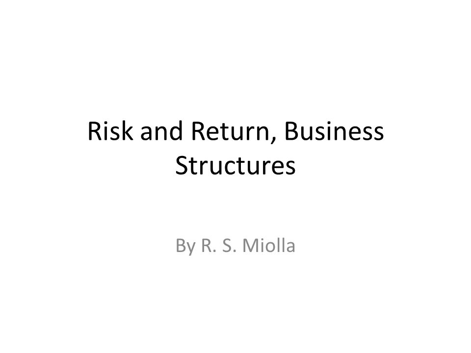 Risk and Return, Business Structures By R. S. Miolla