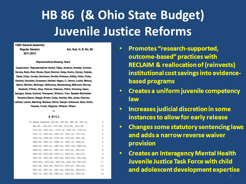 Vision to Action National Campaign to Reform State Juvenile Justice Systems initiated by MacArthur Foundation & the George Gund Foundation leadership JJ Stakeholders convened by Ohio Supreme Court Justices Stratton & McGee-Brown National-local strategy team: - funders - communication & media consultants - lobbyists - researchers & policy expertise - advocates - practitioners, etc.