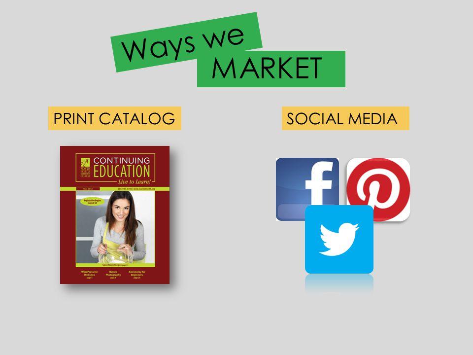 Ways we PRINT CATALOGSOCIAL MEDIA MARKET