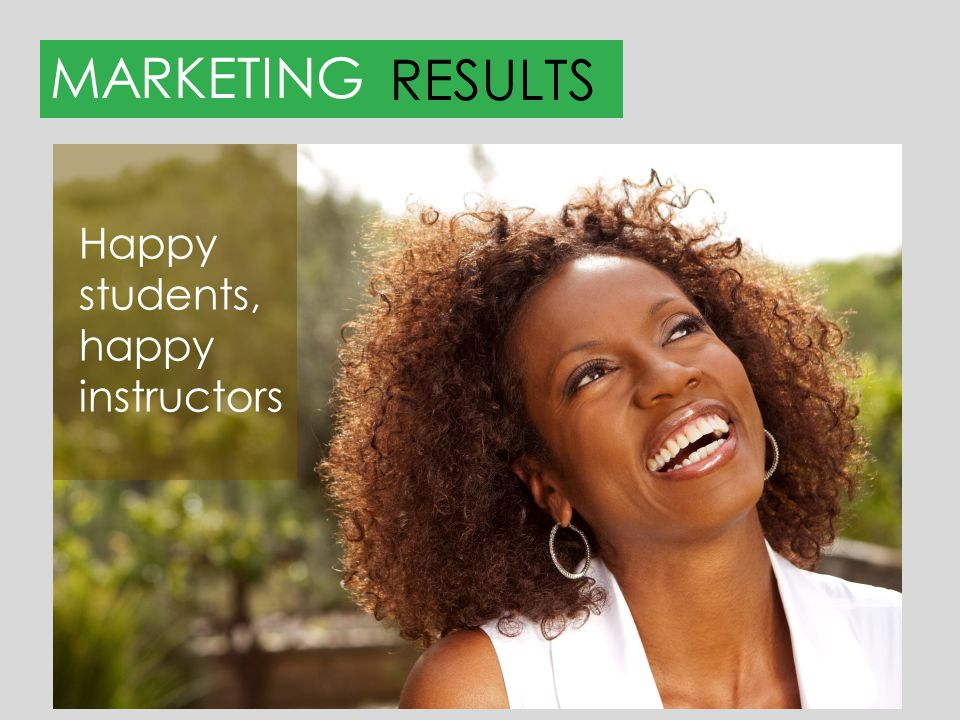 MARKETINGRESULTS We want to increase: Retention Engagement Enrollment …happier students, happier instructors.