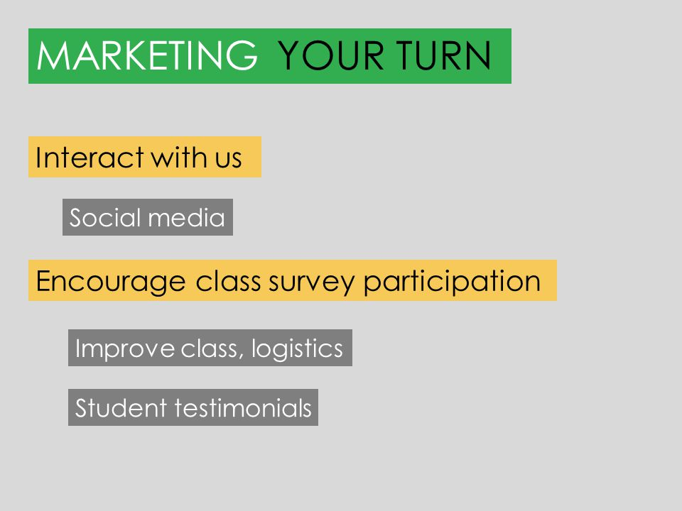 MARKETINGYOUR TURN Improve class, logistics Interact with us Encourage class survey participation Social media Student testimonials