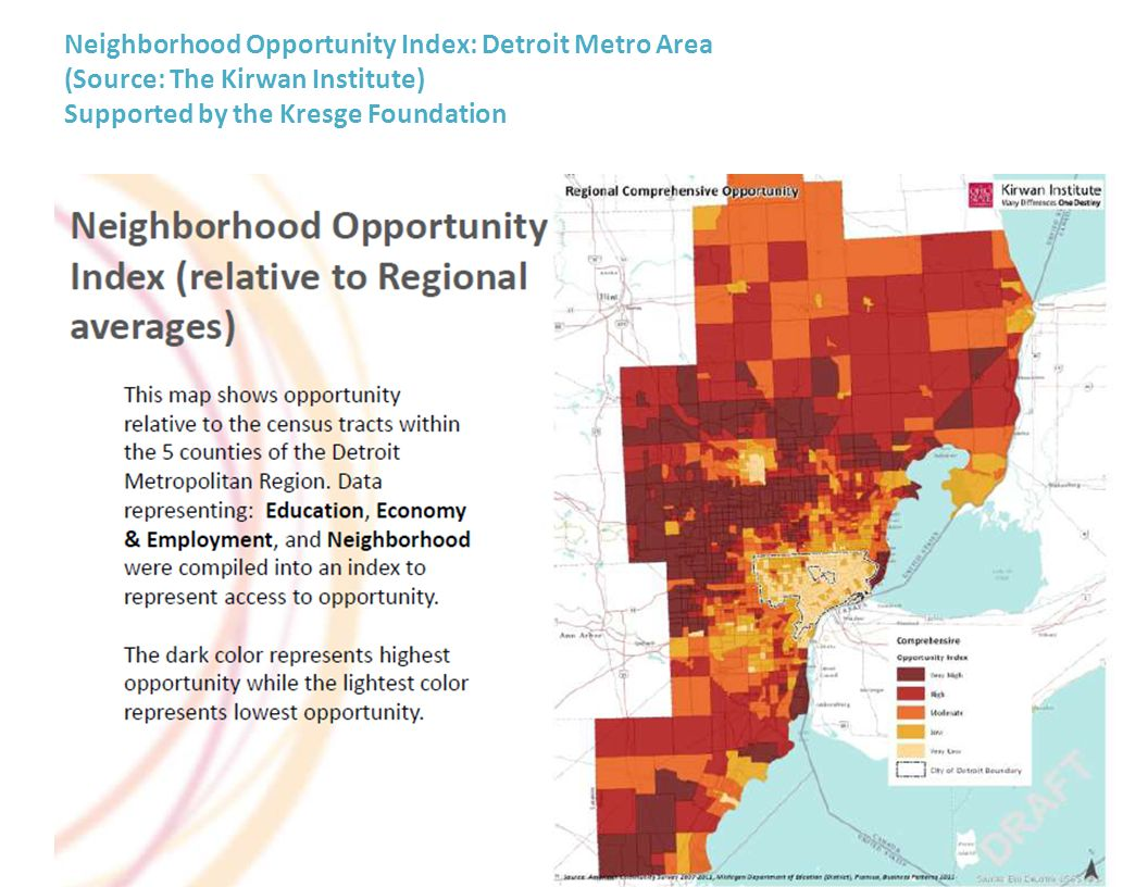 Neighborhood Opportunity Index: Detroit Metro Area (Source: The Kirwan Institute) Supported by the Kresge Foundation