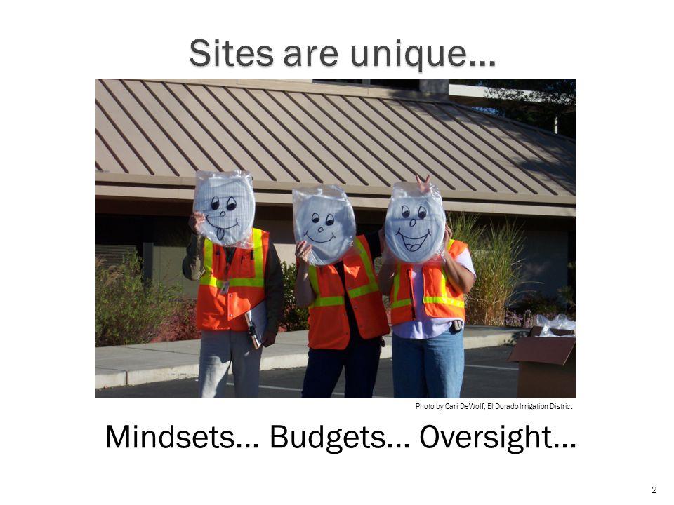 Mindsets… Budgets… Oversight… 2 Photo by Cari DeWolf, El Dorado Irrigation District