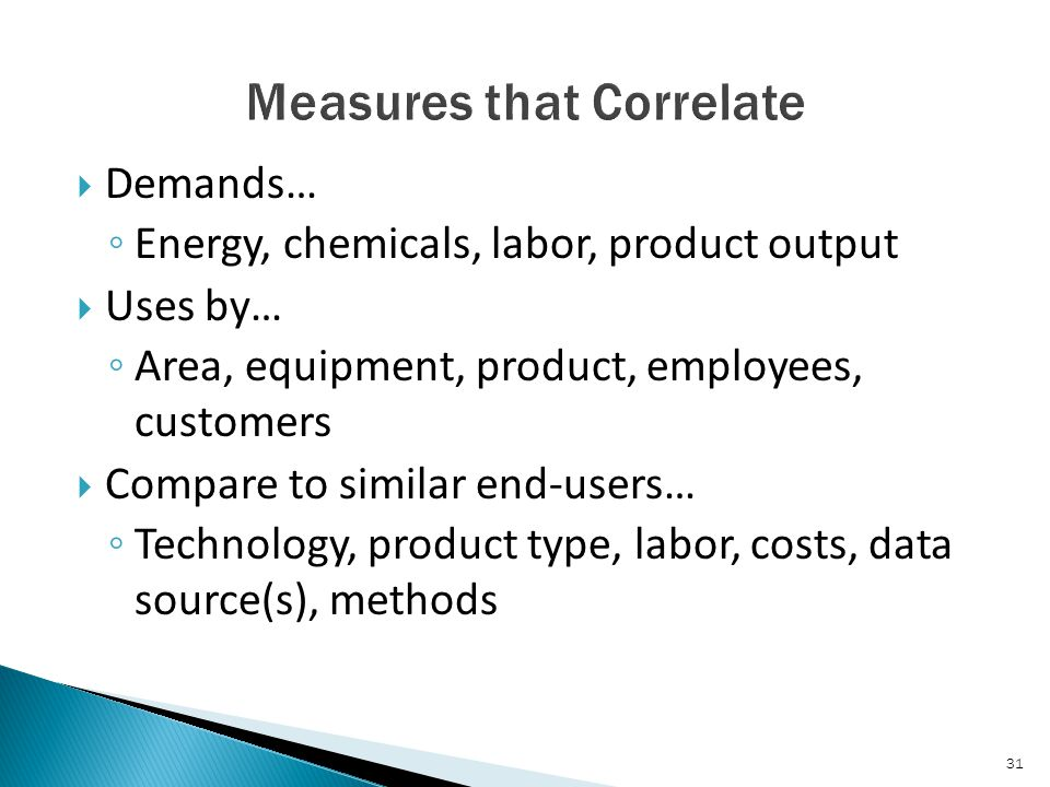  Demands… ◦ Energy, chemicals, labor, product output  Uses by… ◦ Area, equipment, product, employees, customers  Compare to similar end-users… ◦ Technology, product type, labor, costs, data source(s), methods 31