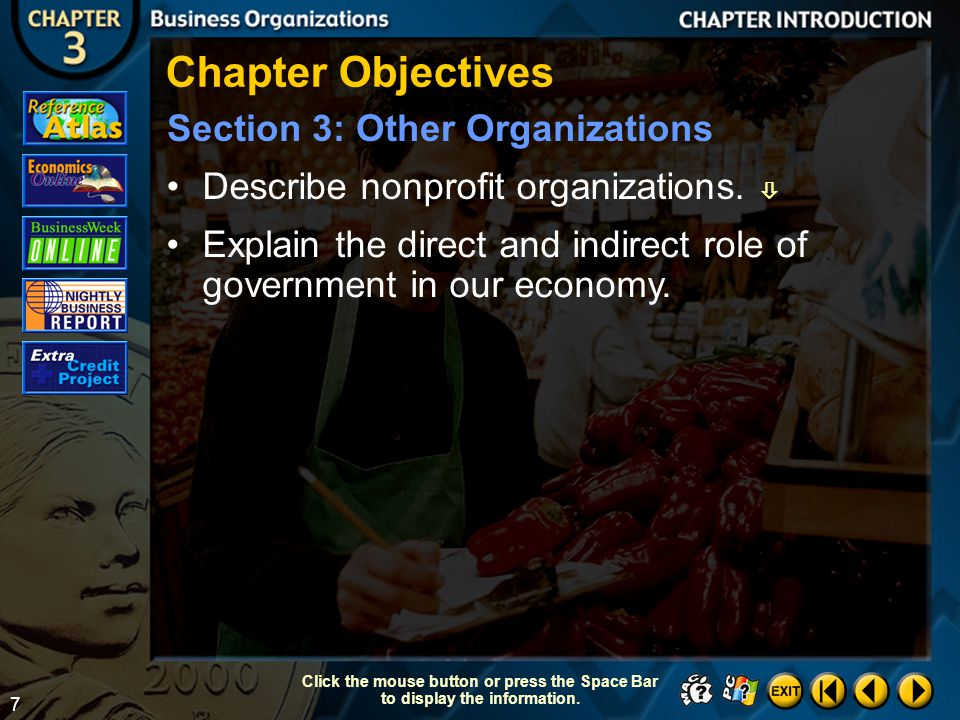 27 Section 1-23 Click the mouse button or press the Space Bar to display the information.