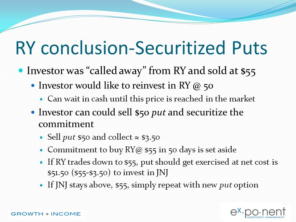 "RY conclusion-Securitized Puts Investor was ""called away"" from RY and sold at $55 Investor would like to reinvest in RY @ 50 Can wait in cash until th"