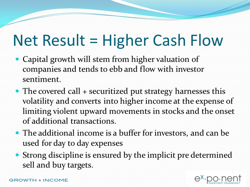 Net Result = Higher Cash Flow Capital growth will stem from higher valuation of companies and tends to ebb and flow with investor sentiment. The cover