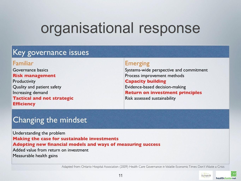 11 organisational response