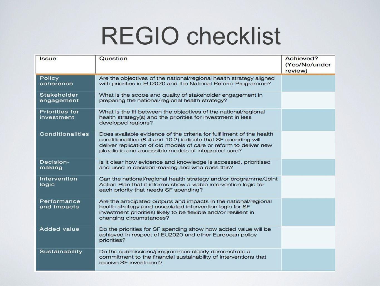 REGIO checklist