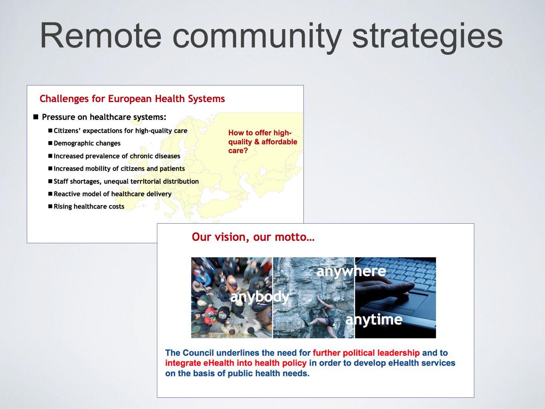 Remote community strategies