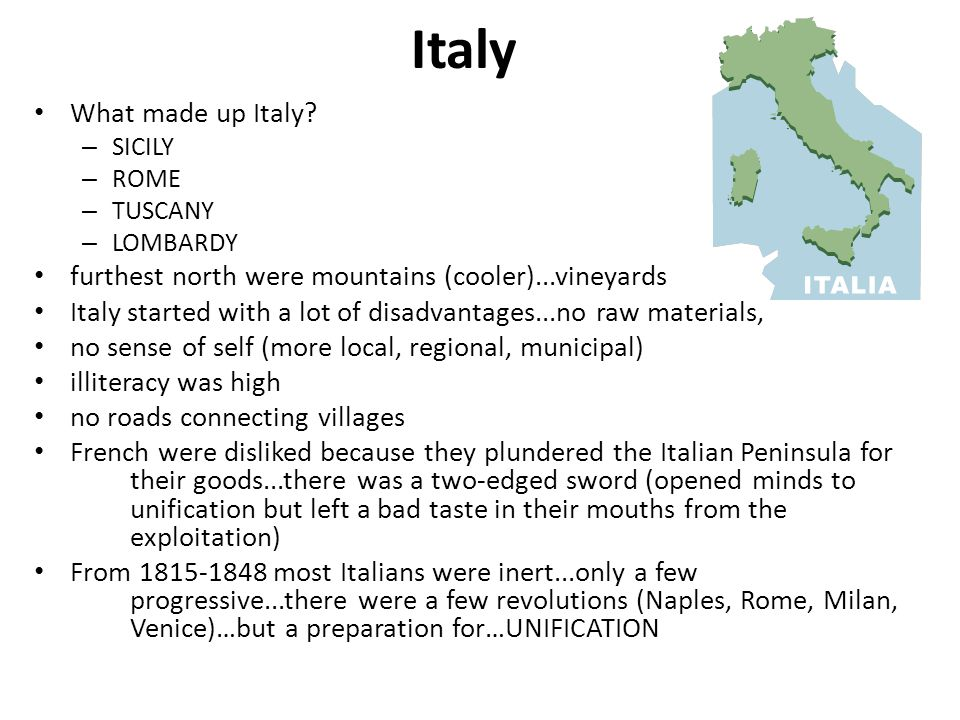 Italy What made up Italy.