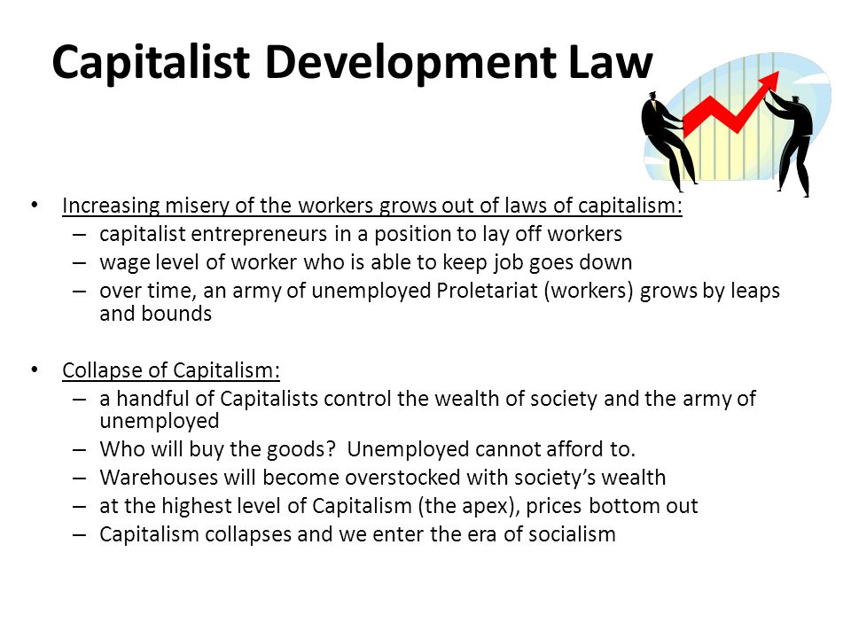Capitalist Development Law Increasing misery of the workers grows out of laws of capitalism: – capitalist entrepreneurs in a position to lay off workers – wage level of worker who is able to keep job goes down – over time, an army of unemployed Proletariat (workers) grows by leaps and bounds Collapse of Capitalism: – a handful of Capitalists control the wealth of society and the army of unemployed – Who will buy the goods.