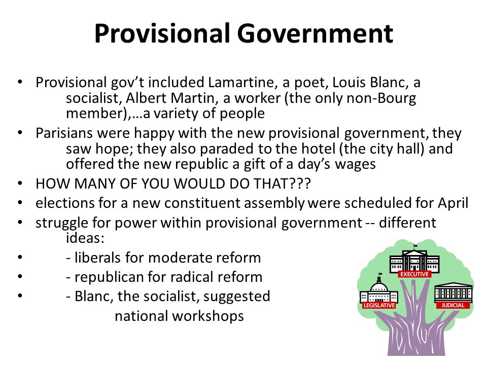 Provisional Government Provisional gov't included Lamartine, a poet, Louis Blanc, a socialist, Albert Martin, a worker (the only non-Bourg member),…a variety of people Parisians were happy with the new provisional government, they saw hope; they also paraded to the hotel (the city hall) and offered the new republic a gift of a day's wages HOW MANY OF YOU WOULD DO THAT??.