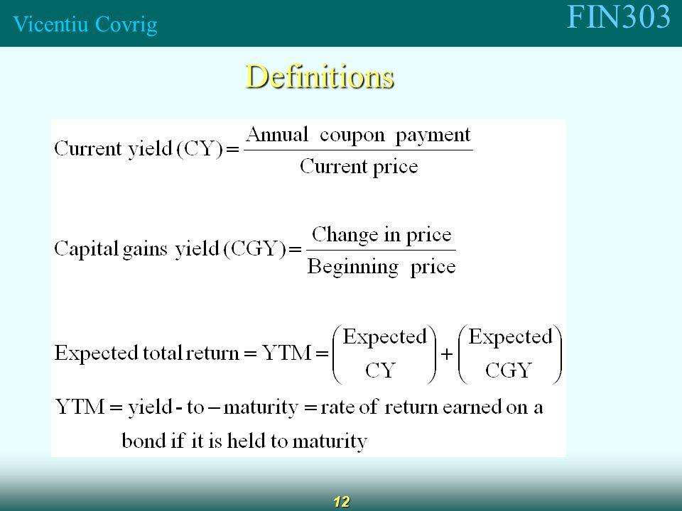 FIN303 Vicentiu Covrig 12 Definitions