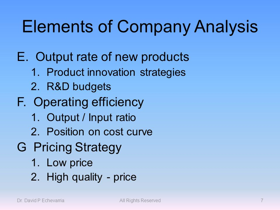 Elements of Company Analysis E.