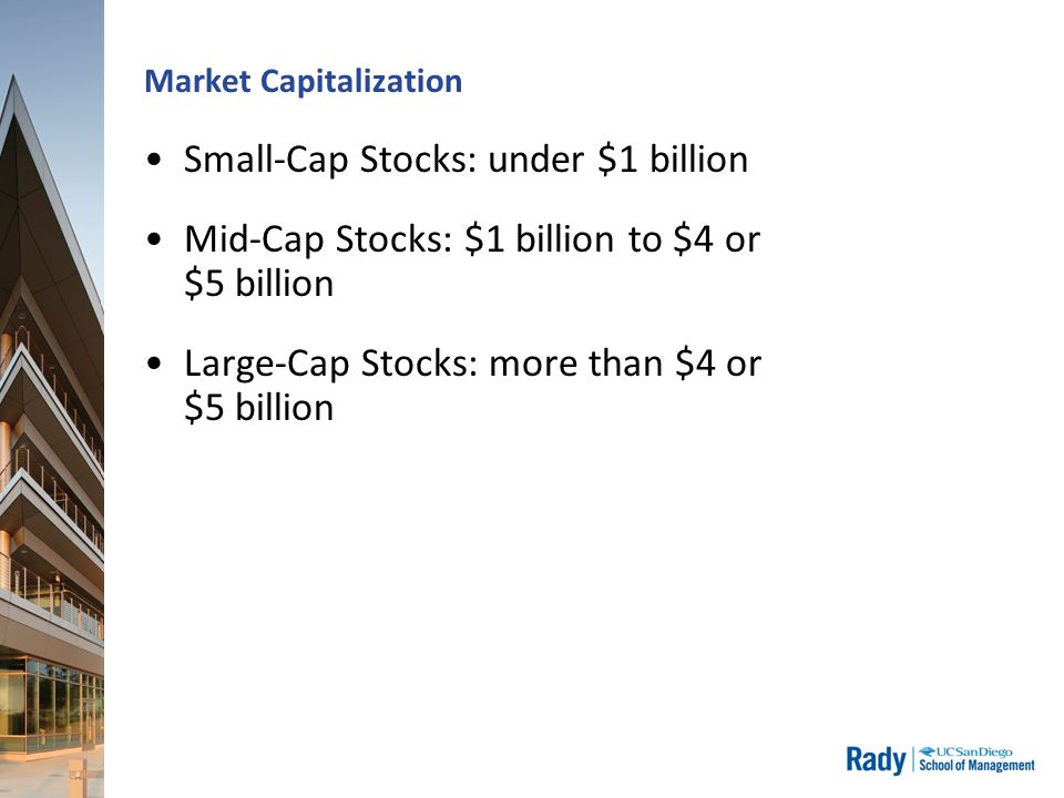 Market Capitalization Small-Cap Stocks: under $1 billion Mid-Cap Stocks: $1 billion to $4 or $5 billion Large-Cap Stocks: more than $4 or $5 billion