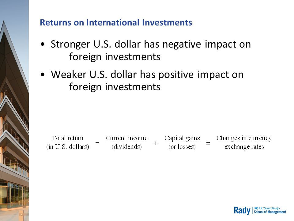 Returns on International Investments Stronger U.S. dollar has negative impact on foreign investments Weaker U.S. dollar has positive impact on foreign