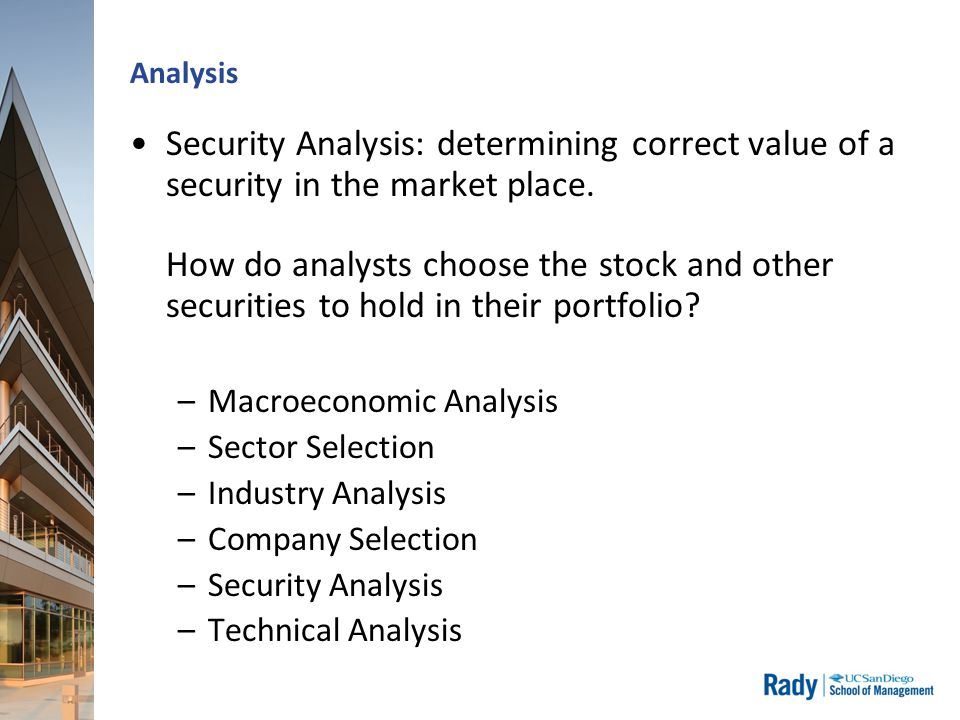 Analysis Security Analysis: determining correct value of a security in the market place.