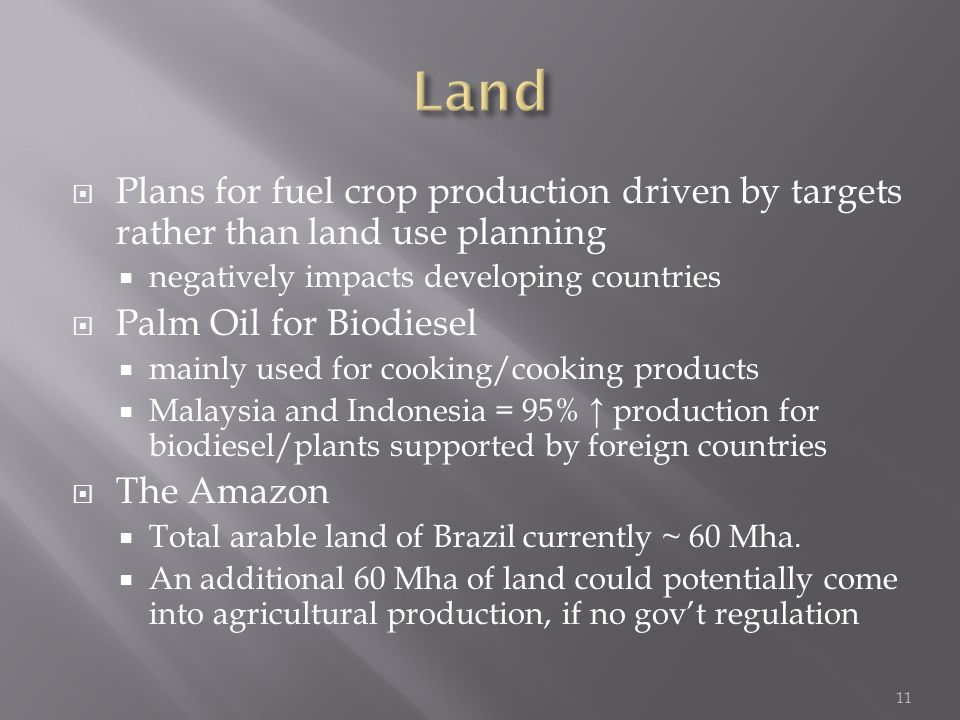  Plans for fuel crop production driven by targets rather than land use planning  negatively impacts developing countries  Palm Oil for Biodiesel  mainly used for cooking/cooking products  Malaysia and Indonesia = 95% ↑ production for biodiesel/plants supported by foreign countries  The Amazon  Total arable land of Brazil currently ~ 60 Mha.
