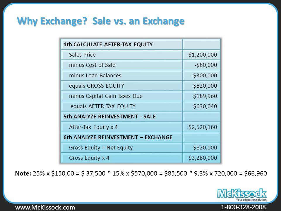 www.Mckissock.com www.McKissock.com 1-800-328-2008 Why Exchange? Sale vs. an Exchange Note: 25% x $150,00 = $ 37,500 * 15% x $570,000 = $85,500 * 9.3%