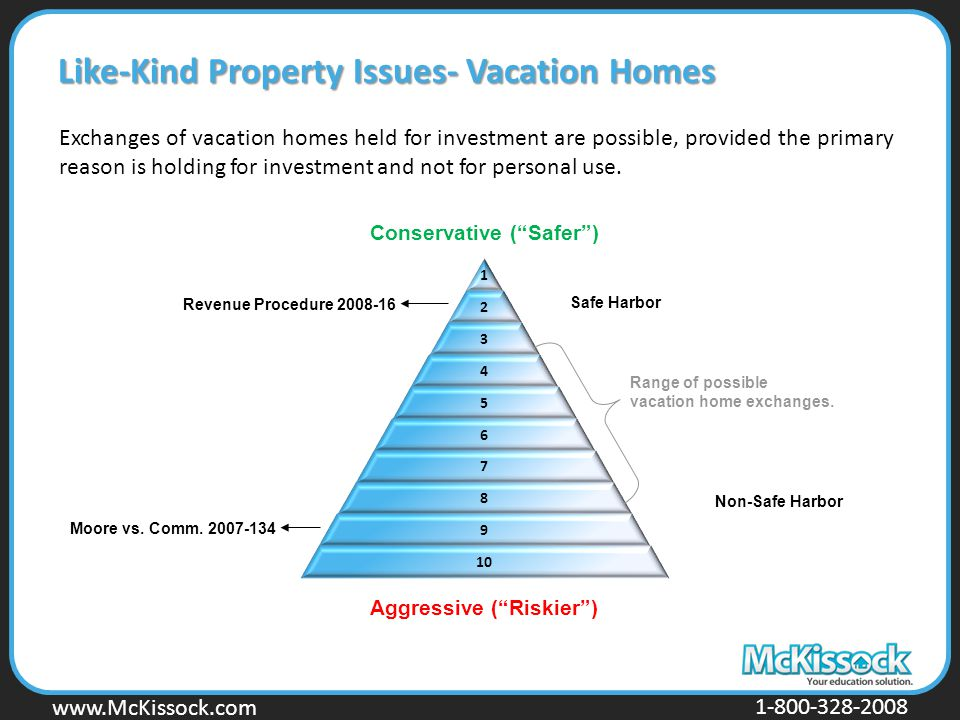 www.Mckissock.com www.McKissock.com 1-800-328-2008 Exchanges of vacation homes held for investment are possible, provided the primary reason is holding for investment and not for personal use.