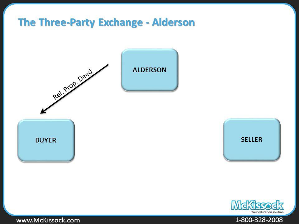 www.Mckissock.com www.McKissock.com 1-800-328-2008 The Three-Party Exchange - Alderson BUYER SELLER ALDERSON Rel. Prop. Deed