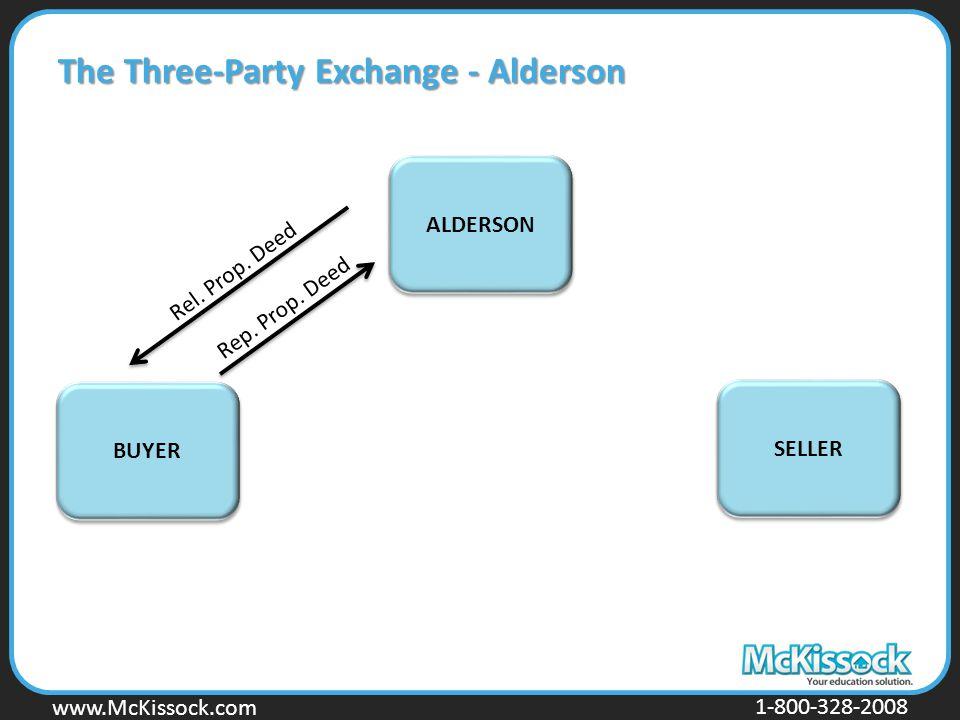 www.Mckissock.com www.McKissock.com 1-800-328-2008 The Three-Party Exchange - Alderson BUYER SELLER ALDERSON Rel. Prop. Deed Rep. Prop. Deed
