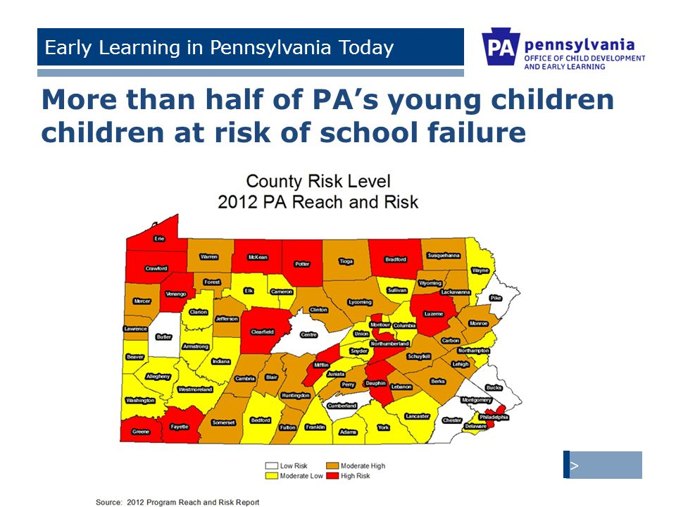 > Tom Corbett, Governor Ronald Tomalis, Secretary of Education | Beverly Mackereth, Acting Secretary of Public Welfare Early Learning in Pennsylvania