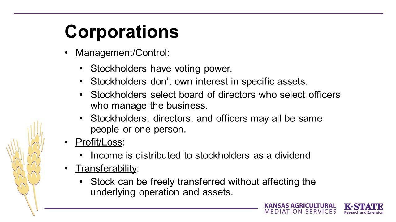 Management/Control: Stockholders have voting power.
