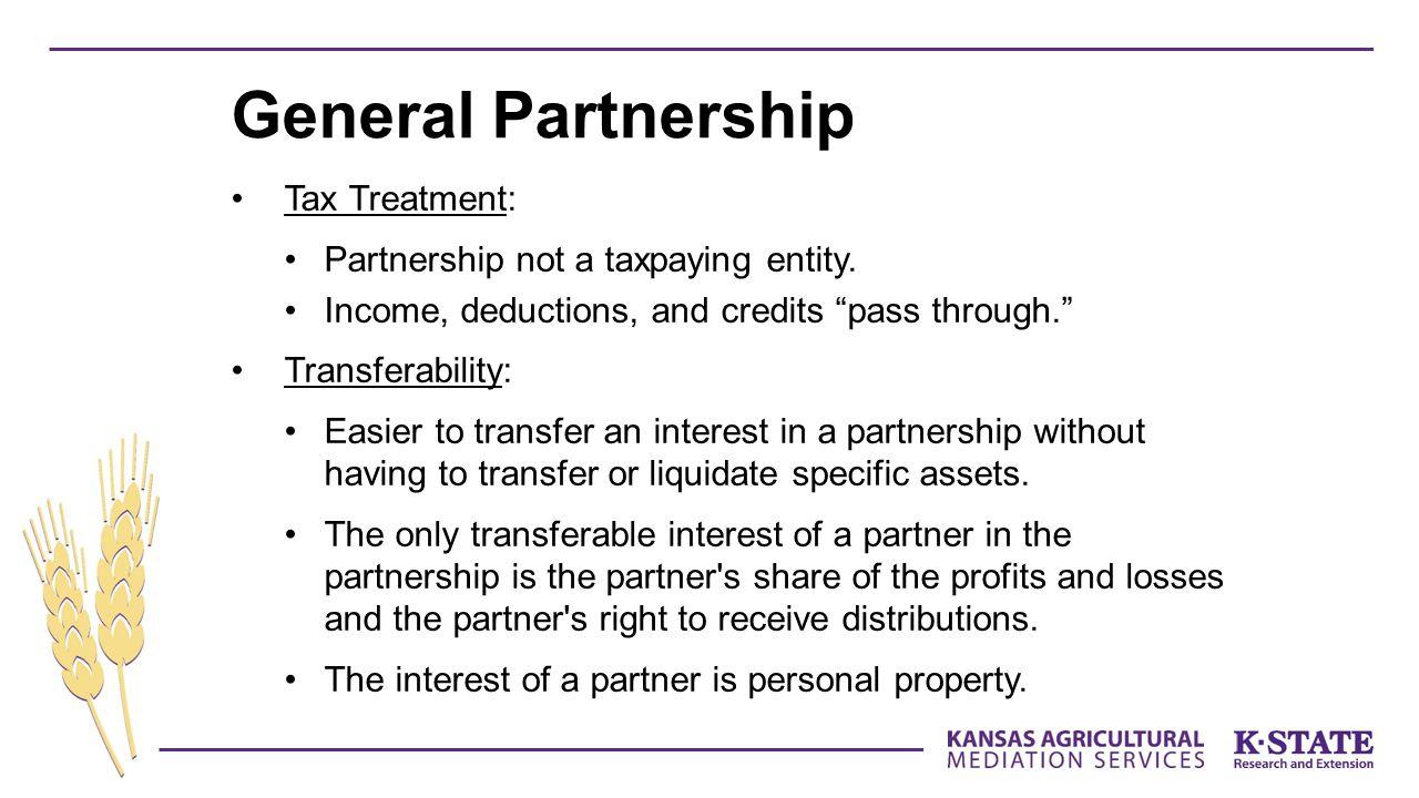 Tax Treatment: Partnership not a taxpaying entity.