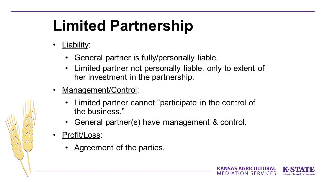 Liability: General partner is fully/personally liable.