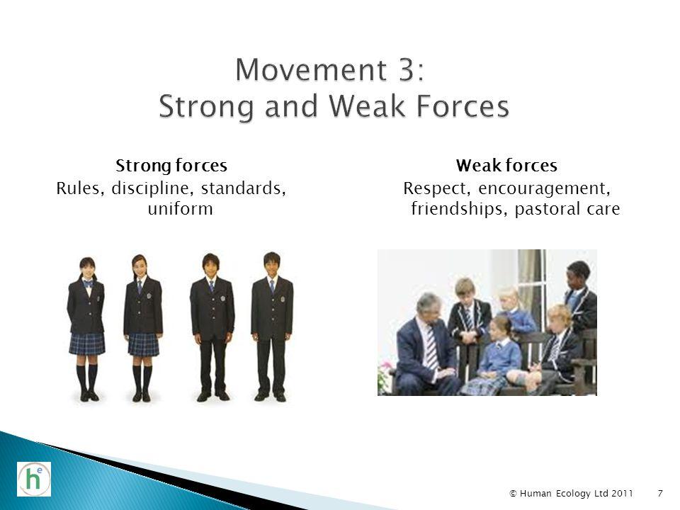Strong forces Rules, discipline, standards, uniform © Human Ecology Ltd 20117 Weak forces Respect, encouragement, friendships, pastoral care