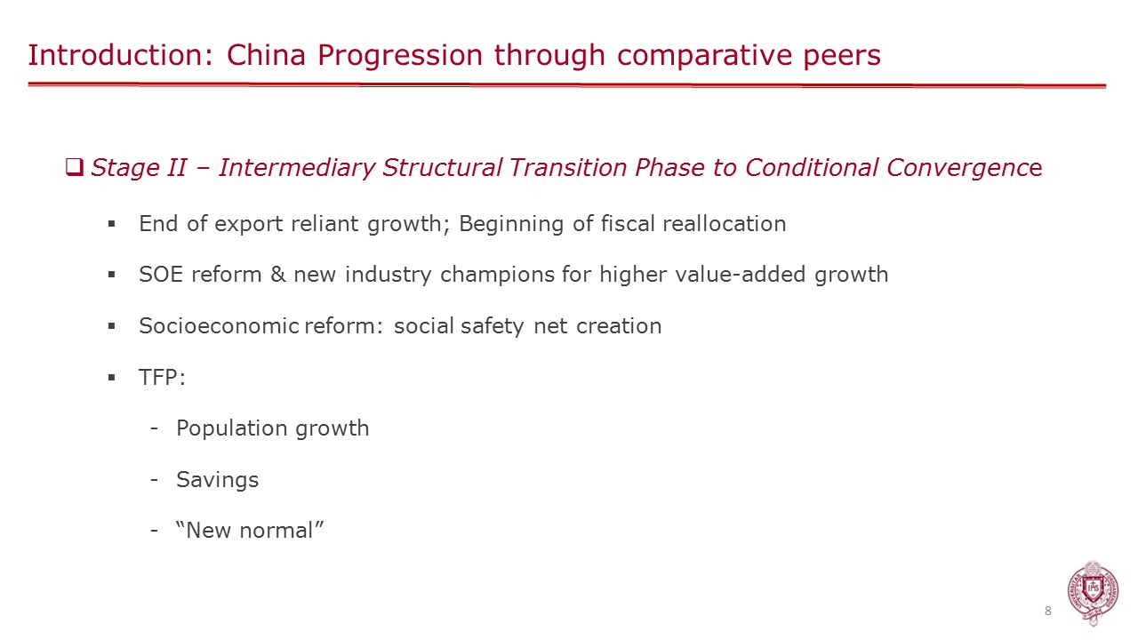 Introduction: China Progression through comparative peers 8  Stage II – Intermediary Structural Transition Phase to Conditional Convergence  End of export reliant growth; Beginning of fiscal reallocation  SOE reform & new industry champions for higher value-added growth  Socioeconomic reform: social safety net creation  TFP: -Population growth -Savings - New normal