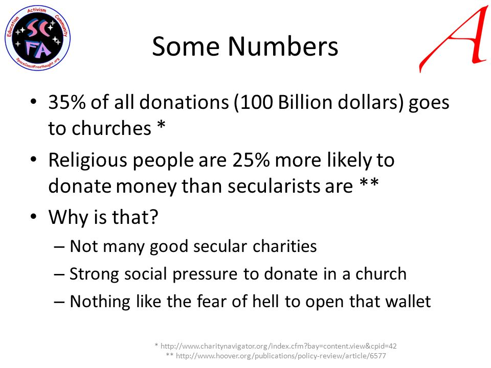 Some Numbers 35% of all donations (100 Billion dollars) goes to churches * Religious people are 25% more likely to donate money than secularists are ** Why is that.