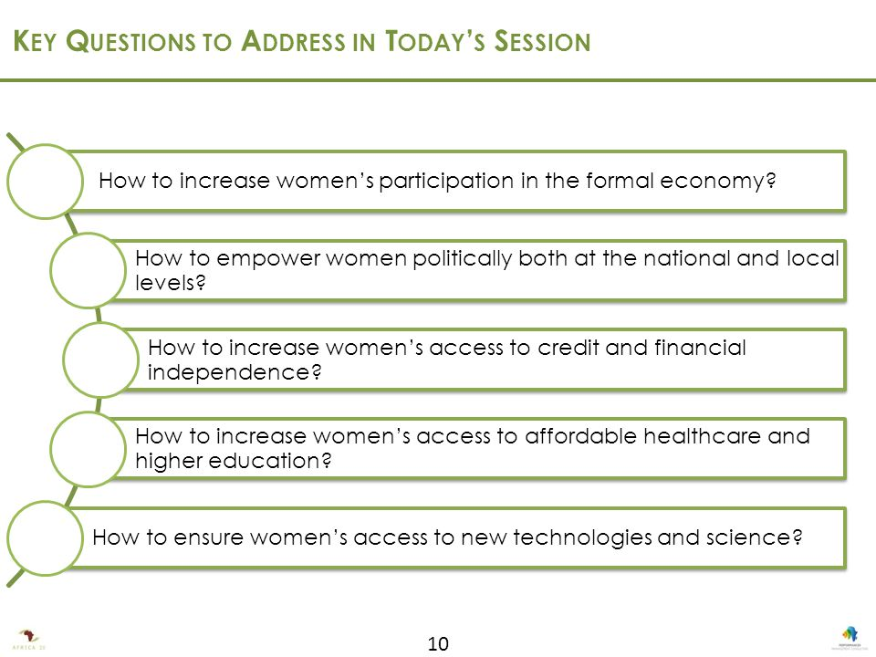 10 K EY Q UESTIONS TO A DDRESS IN T ODAY ' S S ESSION How to increase women's participation in the formal economy.