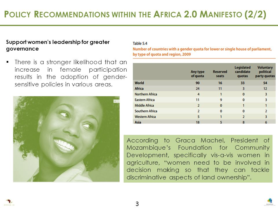 3 Support women's leadership for greater governance  There is a stronger likelihood that an increase in female participation results in the adoption of gender- sensitive policies in various areas.